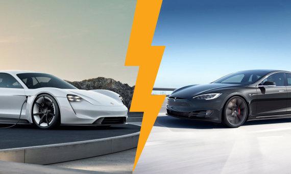 """Porche"" ir ""Tesla"" nuotr./Porsche Taycan ir Tesla Model S"