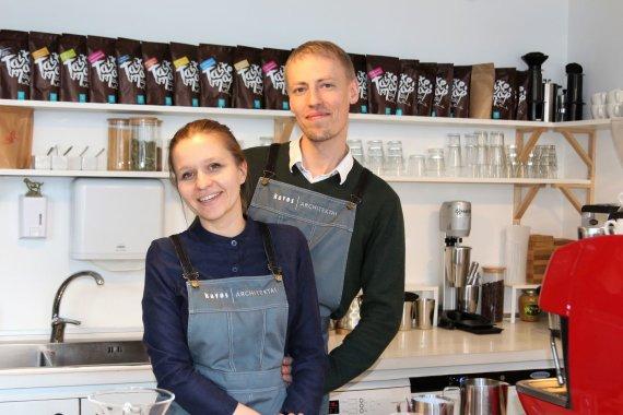 """J. Andriejauskaitės / 15min nuotr./""""Kavos architektų"""" įkūrėjai – Lina ir Vytautas"""
