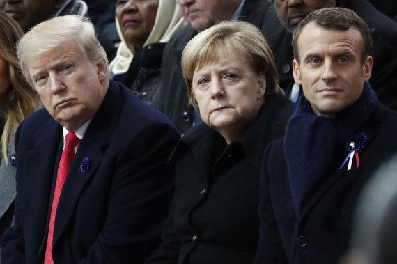 """Scanpix""/AP nuotr./Donaldas Trumpas, Angela Merkel, Emmanuelis Macronas"