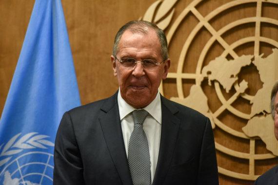 """""""Reuters""""/""""Scanpix"""" nuotr./Sergejus Lavrovas Jungtinių Tautų Generalinėje Asamblėjoje"""