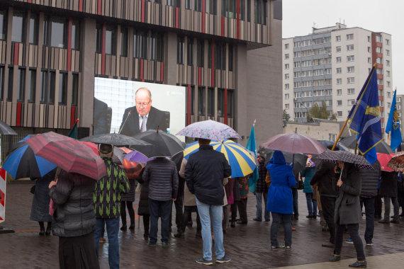 Mariaus Vizbaro / 15min nuotr./Protestas prieš Kauno ir Kauno rajono sujungimą