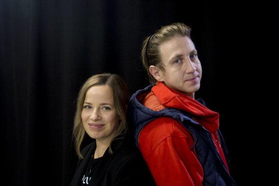 """Irmanto Gelūno / 15min nuotr./15min studijoje – filmo """"Šventasis"""" aktoriai Marius Repšys ir Gelminė Glemžaitė."""