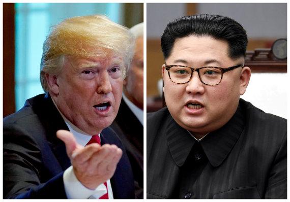 """""""Reuters""""/""""Scanpix"""" nuotr./Donaldas Trumpas ir Kim Jong Unas"""