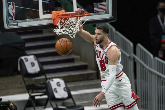 """Scanpix"" nuotr./""Chicago Bulls"" – ""Charlotte Hornets"" rungtynės: Zachas LaVine'as."