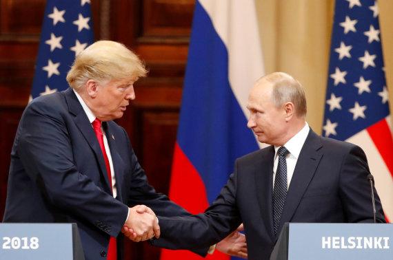 """""""Reuters""""/""""Scanpix"""" nuotr./Donaldo Trumpo ir Vladimiro Putino susitikimas Helsinkyje"""