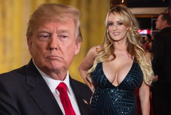 """15min montažas / """"Scanpix"""" nuotr./Donaldas Trumpas ir pornožvaigždė Stormy Daniels"""