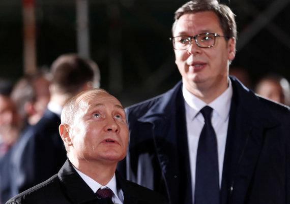 """""""Reuters""""/""""Scanpix"""" nuotr./Vladimiras Putinas ir Aleksandras Vučičius"""