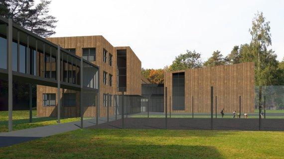 Kauno rajono savivaldybės nuotr./Kačerginės mokyklos vizualizacija