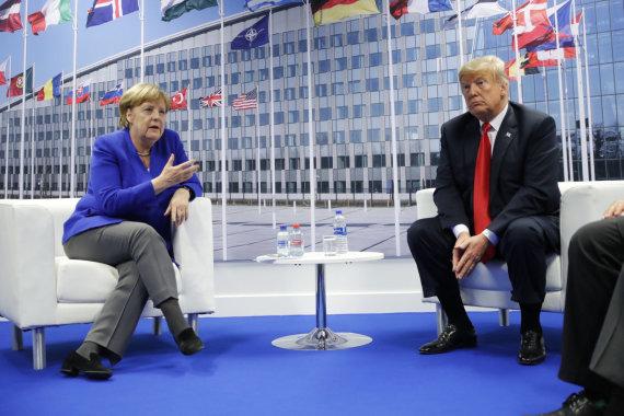 """""""Scanpix""""/AP nuotr./Angela Merkel ir Donaldas Trumpas"""