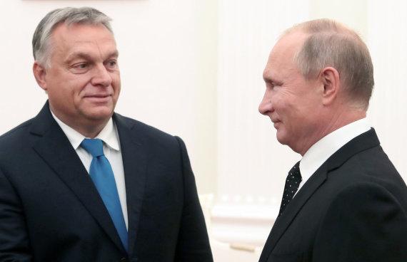 """""""Scanpix"""" nuotr./Viktoras Orbanas ir Vladimiras Putinas Maskvoje"""