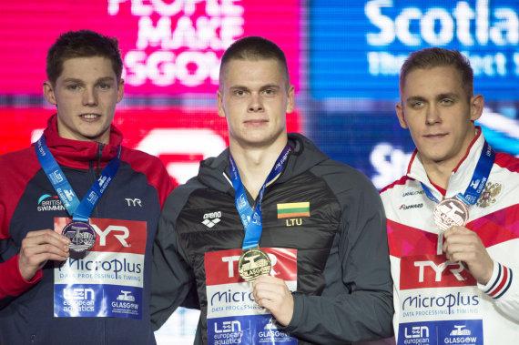 """""""Scanpix""""/""""PA Wire""""/""""Press Association Images"""" nuotr./Danas Rapšys iškovojo auksą 200 m laisvuoju stiliumi. Antras buvo Duncanas Scottas (kairėje), trečias – rusas Michailas Vekoviščevas."""