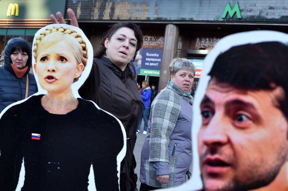 """AFP/""""Scanpix"""" nuotr./Julija Tymošenko ir Volodymyras Zelenskis"""