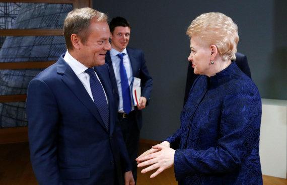 """""""Reuters""""/""""Scanpix"""" nuotr./Donaldas Tuskas ir Dalia Grybauskaitė"""
