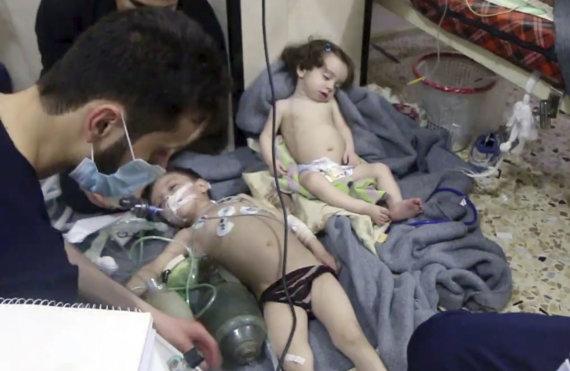 """""""Scanpix""""/AP nuotr./Cheminė ataka Sirijos Dumos mieste"""