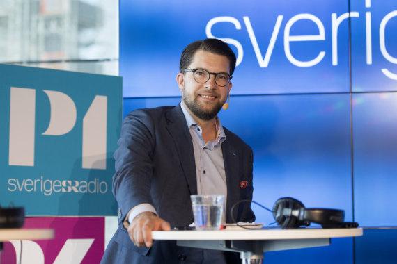 """AFP/""""Scanpix"""" nuotr./Švedijos demokratų lyderis Jimmie Akessonas"""