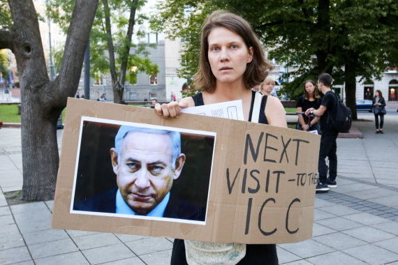 Vidmanto Balkūno / 15min nuotr./Protestas prieš Izraelio delegacijos vizitą