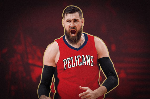 """Donato Gvildžio montažas/Jonas Valančiūnas užsivilks """"New Orleans Pelicans"""" aprangą."""
