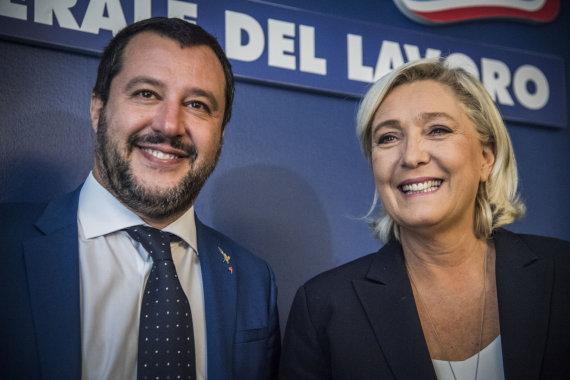 """Scanpix""/""SIPA"" nuotr./Matteo Salvini ir Marine Le Pen"