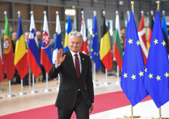 Lietuvos Respublikos Prezidentūros kanceliarijos / Robreto Dačkaus nuotr./Gitanas Nausėda Europos Vadovų Tarybos posėdyje