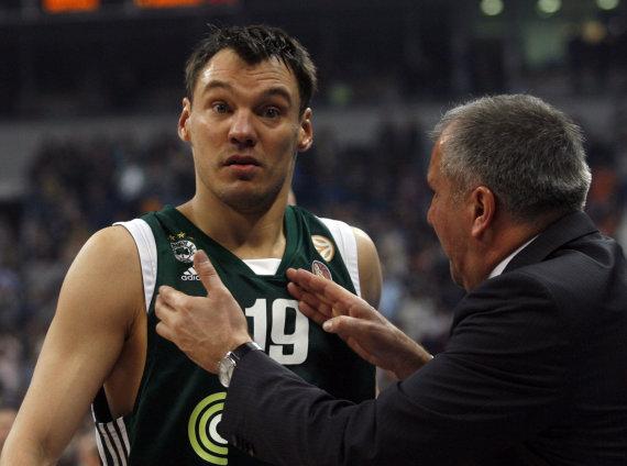 """""""Reuters""""/""""Scanpix"""" nuotr./Šarūnas Jasikevičius ir Željko Obradovičius"""