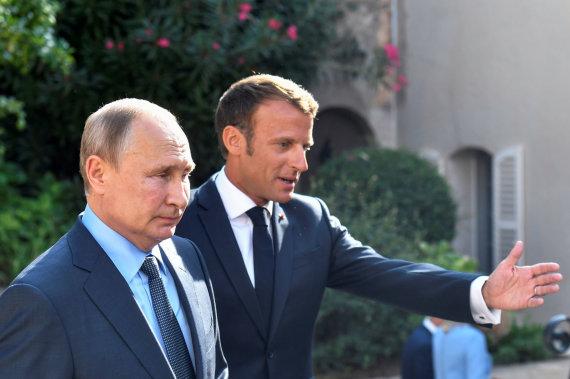 """""""Reuters""""/""""Scanpix"""" nuotr./Vladimiras Putinas,Emmanuelis Macronas"""
