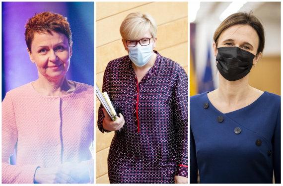 15min koliažas/Žurnalistė Nemira Pumprickaitė, premjerė Ingrida Šimonytė, Seimo pirmininkė Viktorija Čmilytė-Nielsen
