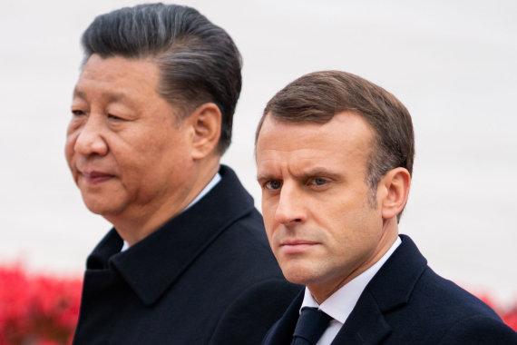 """Scanpix"" nuotr./Xi Jinpingas, Emmanuelis Macronas"