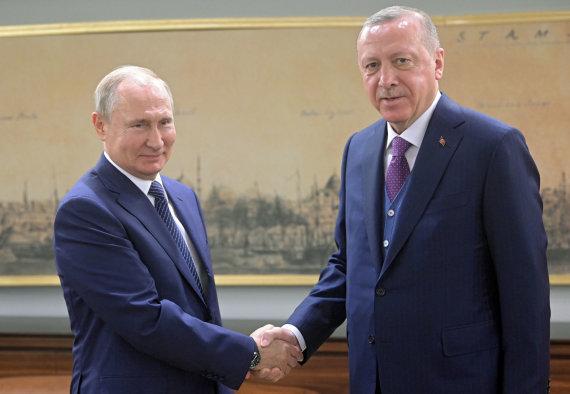 """Scanpix""/AP nuotr./R.T.Erdoganas ir V.Putinas"