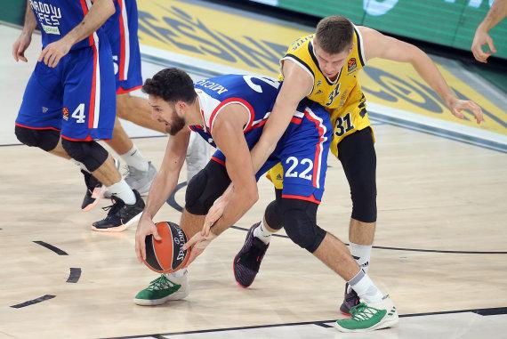 Getty Images/Euroleague.net nuotr./Rokas Giedraitis ir Vasilije Micičius.