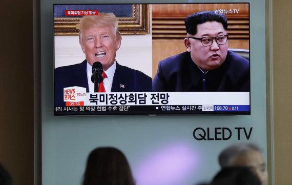"""""""Scanpix""""/AP nuotr./Donaldas Trumpas ir Kim Jong Unas"""