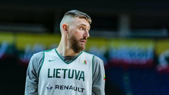 Ž.Vingelio/LKF nuotr./Lietuvos krepšinio rinktinės treniruotė. Deividas Gailius
