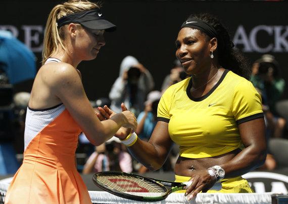 """""""Reuters""""/""""Scanpix"""" nuotr./Marija Šarapova ir Serena Williams"""
