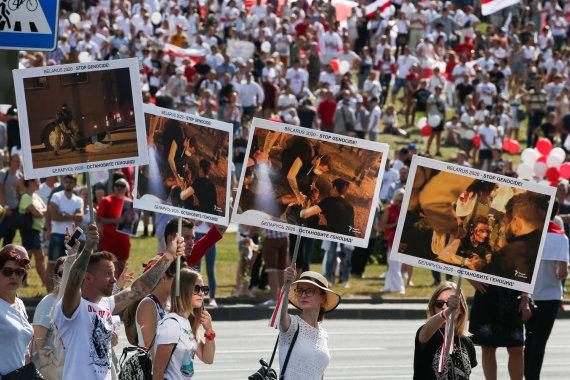 "AFP/""Scanpix"" nuotr./Laisvės eisena Minske"