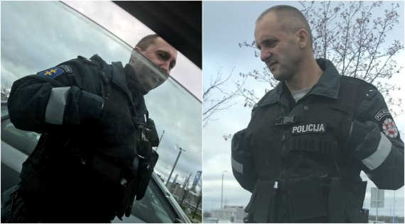 Skaitytojo nuotr./Kauniečio užfiksuoti policininkai, atvykę kartu su mobilų pametusia keleive