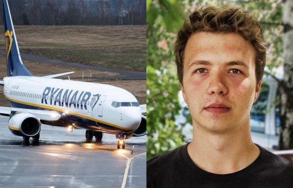 """""""Ryanair"""" lėktuvas, Romanas Protasevičius (Ž.Gedvilos, S.Cichanouskajos štabo nuotr. 15min koliažas)"""