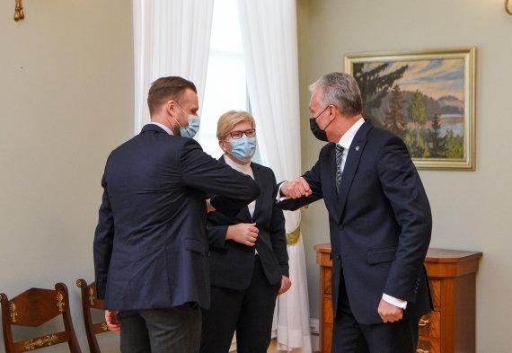 LR Prezidento kanceliarijos/R.Dačkaus nuotr./Gabrielius Landsbergis, Ingrida Šimonytė, Gitanas Nausėda