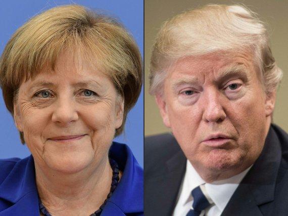 """AFP/""""Scanpix"""" nuotr./Angela Merkel ir Donaldas Trumpas"""