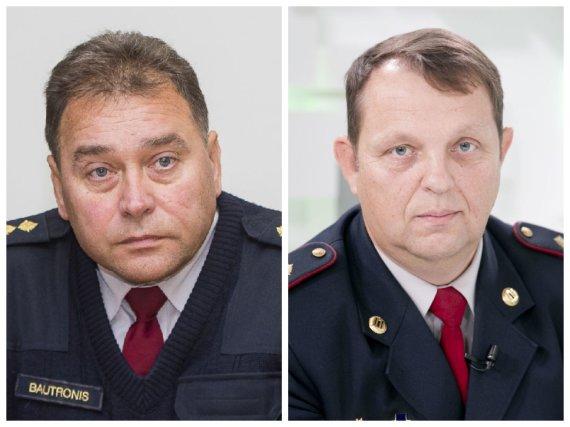 Alytaus priešgaisrinės gelbėjimo tarnybos vadovai Algirdas Bautronis ir Saulius Mockevičius