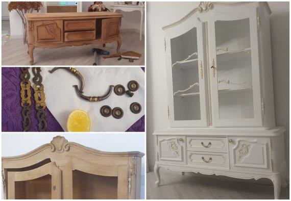 Asmeninio archyvo nuotr./Kristinos atnaujintas senovinis baldas, kuriam taikyta paauksavimo technika