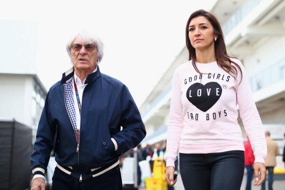 """Scanpix"" nuotr./Berni Ecclestone'as ir Fabiana Flosi."