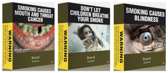 """""""Reuters""""/""""Scanpix"""" nuotr./Iliustracijos ant Australijoje parduodamų cigarečių pakelių"""