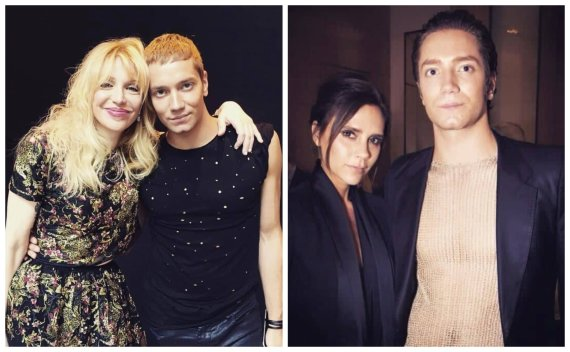 Asmeninio albumo nuotr. /Tomas Auksas su Courtney Love ir Victoria Beckham