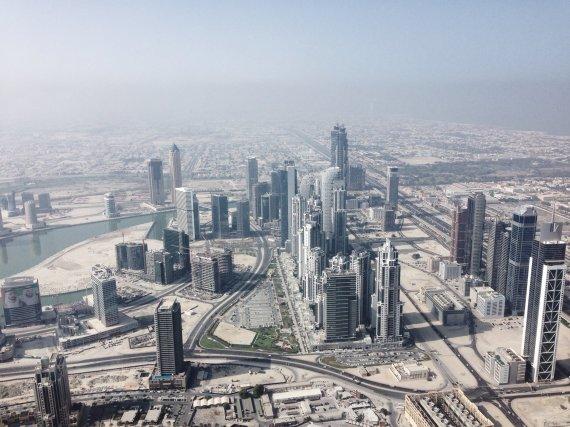 Asmeninio albumo nuotr./Dubajaus vaizdas iš aukščiausio pasaulyje pastato Burj Khalifa (Jungtiniai Arabu Emyratai)
