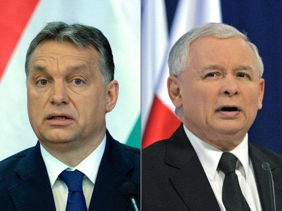 """AFP/""""Scanpix"""" nuotr./Viktoras Orbanas ir Jaroslawas Kaczynskis"""