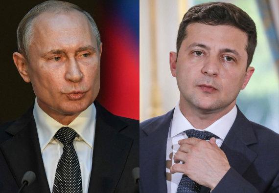 "AFP/""Scanpix"" nuotr./Vladimiras Putinas ir Volodymyras Zelenskis"