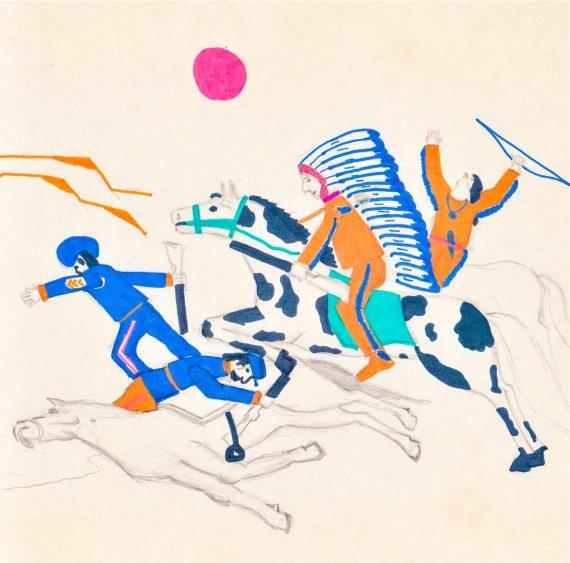 """Prerijų indėnų kautynės su """"mėlynmunduriais"""". Idėjos autorius Zigmas Vitkus. Dailininkas Raimundas Vitkus."""