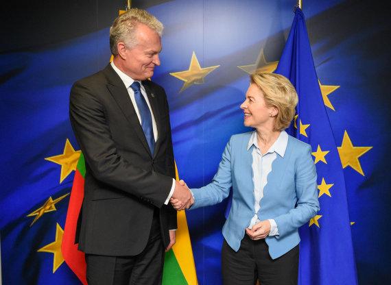 Lietuvos Respublikos prezidento kanceliarijos / Roberto Dačkaus nuotr./Gitanas Nausėda susitiko su Ursula von der Leyen