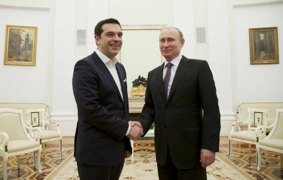 """""""Reuters""""/""""Scanpix"""" nuotr./Graikijos premjeras Aleksis Cipras ir Rusijos prezidentas Vladimiras Putinas"""