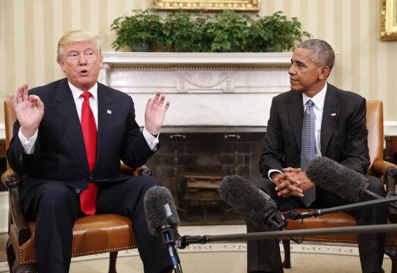 """Scanpix""/AP nuotr./Donaldas Trumpas ir Barackas Obama Baltuosiuose Rūmuose"