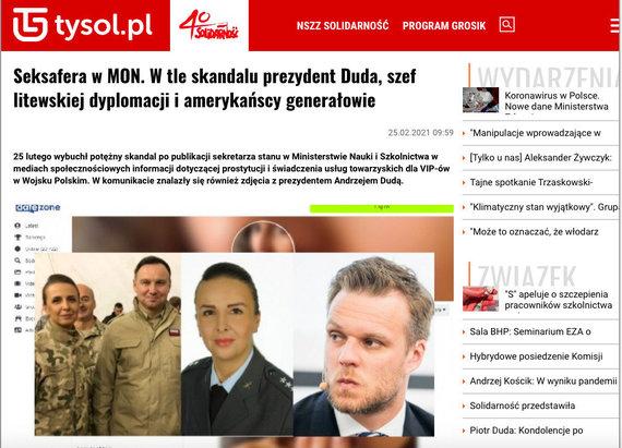 """Portalo """"Tygodnik Solidarność"""" ekrano nuotr. /Informacinė ataka prieš A.Dudą ir G.Landsbergį"""